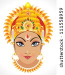 abstract goddess durga face vector illustration - stock vector