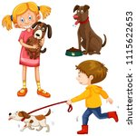 a set of people with dog... | Shutterstock .eps vector #1115622653