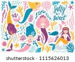 vector set of cute mermaids and ...   Shutterstock .eps vector #1115626013