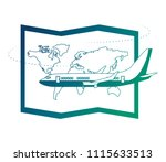 airplane flying with world... | Shutterstock .eps vector #1115633513