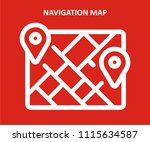 navigation map vector icon  | Shutterstock .eps vector #1115634587