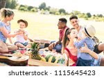 happy multiracial families... | Shutterstock . vector #1115645423