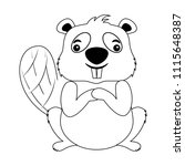 beaver of canada isolated icon   Shutterstock .eps vector #1115648387
