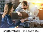 young businessman working with... | Shutterstock . vector #1115696153