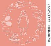 fat girl  badminton rackets and ...   Shutterstock .eps vector #1115719037