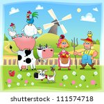 Funny farm family. Cartoon and vector illustration. Eps file contains isolated objects and characters. - stock vector