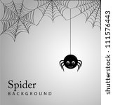 cute spider and webs over gray... | Shutterstock .eps vector #111576443