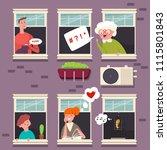 neighbors in the windows.... | Shutterstock .eps vector #1115801843