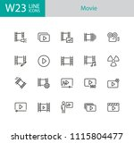 movie icons. set of twenty line ... | Shutterstock .eps vector #1115804477