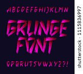 hand drawn grunge alphabet font.... | Shutterstock .eps vector #1115836997
