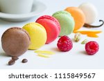 colorful french macarons... | Shutterstock . vector #1115849567