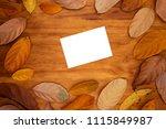 blank postcard on warm wooden...   Shutterstock . vector #1115849987