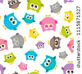 pattern with colorfull owls on... | Shutterstock . vector #1115871527