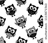 seamless pattern with owls on... | Shutterstock . vector #1115871563