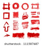 set of red hand painted brush... | Shutterstock . vector #111587687