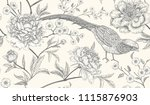peonies and pheasants. floral... | Shutterstock .eps vector #1115876903