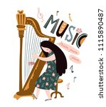 singing girl with harp and... | Shutterstock .eps vector #1115890487
