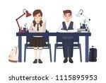 pair of school boy and girl in...   Shutterstock .eps vector #1115895953