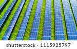 solar panels in aerial view | Shutterstock . vector #1115925797
