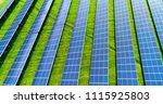 solar panels in aerial view | Shutterstock . vector #1115925803