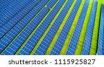 solar panels in aerial view | Shutterstock . vector #1115925827