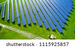 solar panels in aerial view | Shutterstock . vector #1115925857