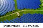 solar panels in aerial view | Shutterstock . vector #1115925887