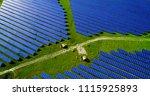 solar panels in aerial view | Shutterstock . vector #1115925893