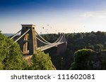 Clifton suspension bridge and Balloon Fiesta, Bristol, UK - stock photo