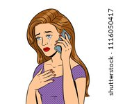 crying girl with phone pop art... | Shutterstock .eps vector #1116050417