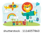 a landscape with cute little... | Shutterstock .eps vector #1116057863
