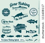 Vector Set  Vintage Fishing...