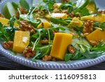 arugula mango and apple salad... | Shutterstock . vector #1116095813
