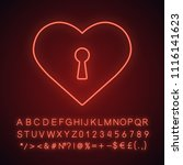 heart with keyhole neon light... | Shutterstock .eps vector #1116141623