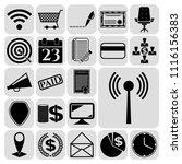 set of 22 business symbols of... | Shutterstock .eps vector #1116156383