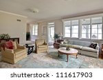 old dated home interior with old furniture - stock photo
