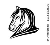 black horse sign on a white... | Shutterstock .eps vector #1116182603