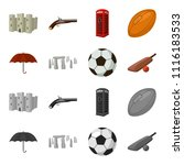 umbrella  stone  ball  cricket .... | Shutterstock .eps vector #1116183533