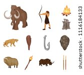 life in the stone age cartoon... | Shutterstock .eps vector #1116184133