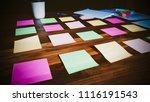 notes paper on desktop wood...   Shutterstock . vector #1116191543