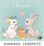 cute hares couple | Shutterstock .eps vector #1116243173