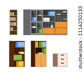 set of home and office wooden... | Shutterstock .eps vector #1116250133