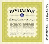 yellow retro vintage invitation.... | Shutterstock .eps vector #1116258797