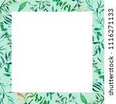 floral frame watercolor green... | Shutterstock . vector #1116271133