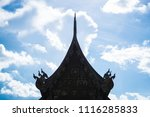silhouette of wooden roof of... | Shutterstock . vector #1116285833