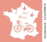 map of france  bicycle with a... | Shutterstock .eps vector #1116298673