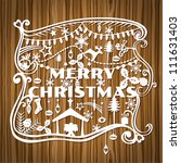 merry christmas greeting card   ... | Shutterstock .eps vector #111631403