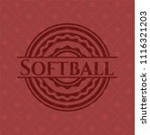 softball red emblem. vintage. | Shutterstock .eps vector #1116321203