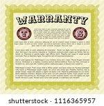 yellow formal warranty... | Shutterstock .eps vector #1116365957