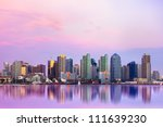 Lovely San Diego skyline at sunset - stock photo
